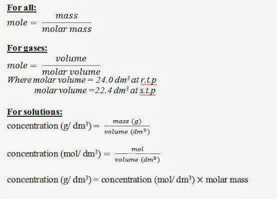 mole equal mass  over molar mass, mole equal volume over molar volume, concentration equal mass over volume, concentration equal moles over volume, concentration in mass per unit volume equal concentration in moles per unit volume multiply by molar mass, o level stochiometry, o level mole concept, o level chemistry