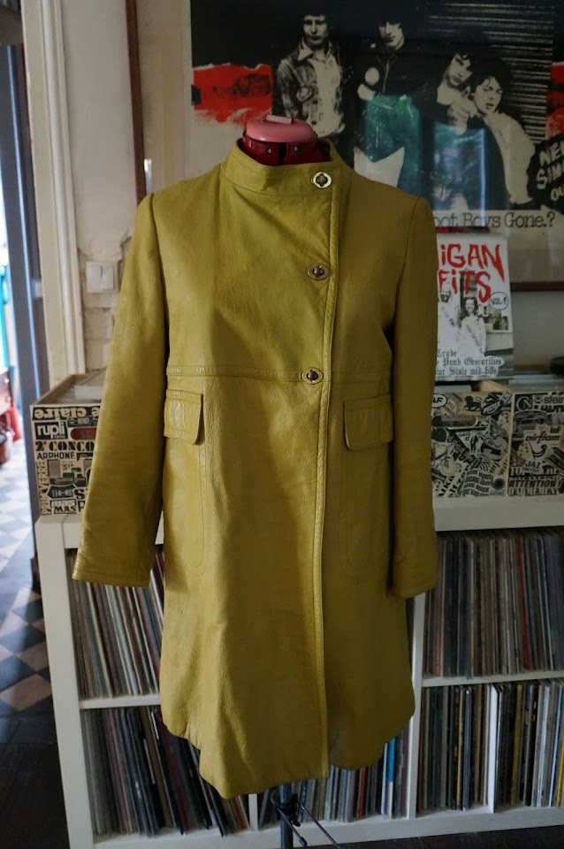 60s leather chartreuse coat Bonnie cashin sills
