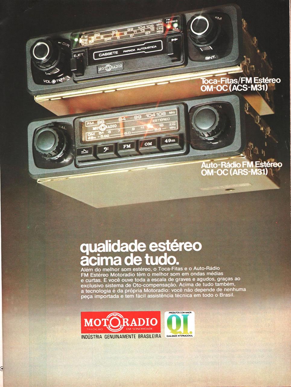 Propaganda veiculada no final dos anos 70 que promovia a qualidade do som estéreo do Motoradio