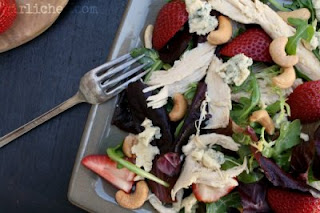 Chicken, Strawberry, & Tarragon Salad w/ Cashews & Cashel Blue