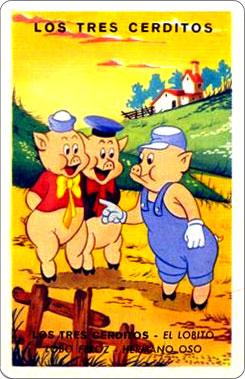 Juego Familias Walt Disney Carta Tres cerditos 1