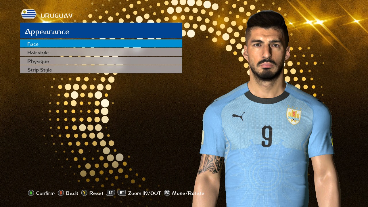 PES 2017 L. Suarez Face V3 by Ahmed Tattoo & Facemaker