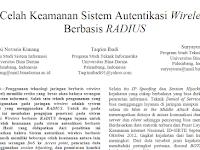 """Paper """"Celah Keamanan Sistem Autentikasi Wireless Berbasis RADIUS"""""""