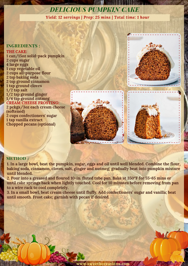 DELICIOUS PUMPKIN CAKE RECIPE
