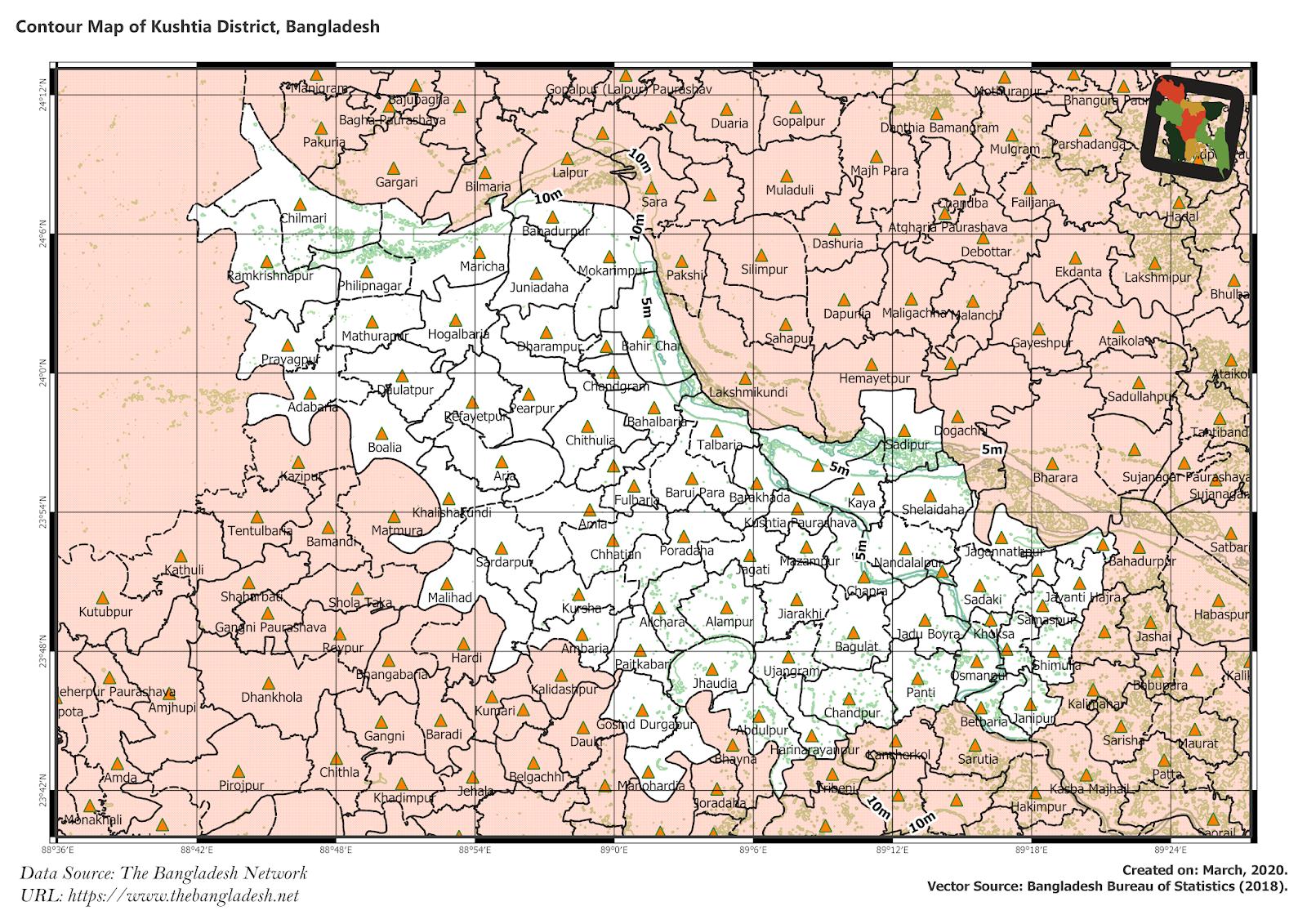 Elevation Map of Kushtia District of Bangladesh