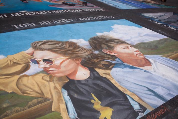 Santa Barbara mission chalk artwork
