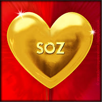 Soz text on gold heart free image for texting