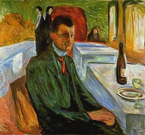 Autorretrato com Garrafa de Vinho - Munch, Edvard esuas principais pinturas ~ Um grito de desespero existencial