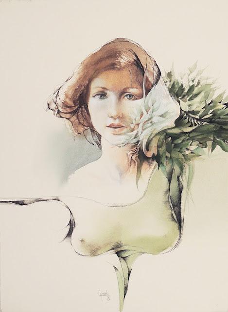 Glauco Capozzoli dibujo joven con flores