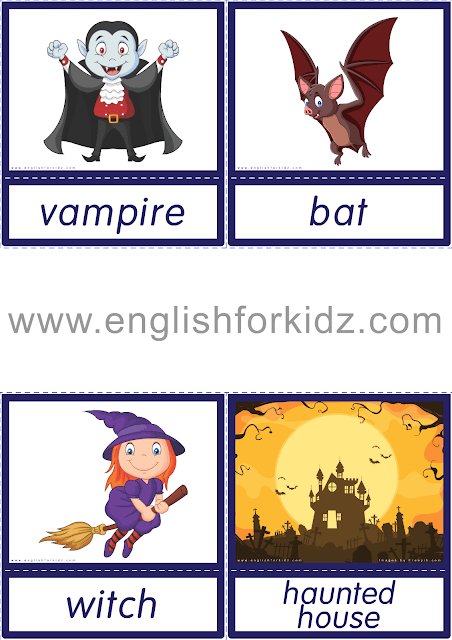 Printable Halloween flashcards for ESL