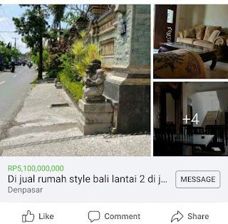 Dijual rumah style Bali Renon