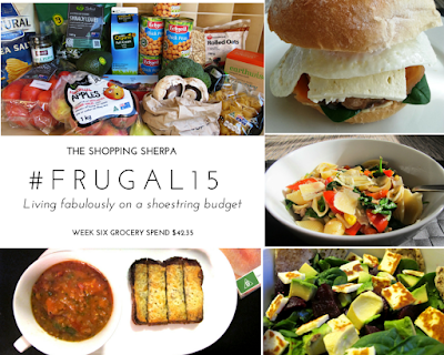 Mosaic of images showing a selection of groceries and four meals. The meals are a breakfast burger, pasta with tuna and vegetables, salad of haloumi with beetroot, avocado and spinach and tomato soup with cheese on toast.