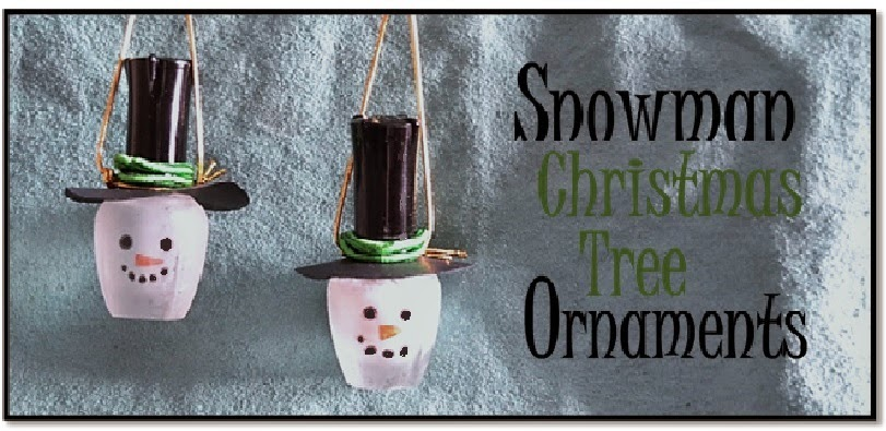 Snow Man Ornaments Made From Old Nail Polish Bottles