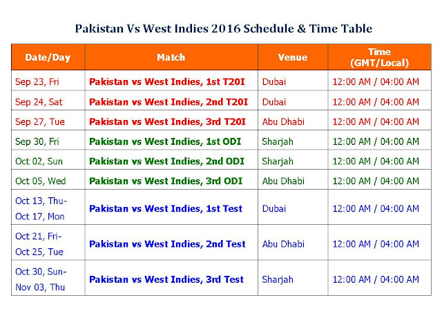 Pakistan Vs West Indies 2016 Schedule & Time Table,Pakistan Vs West Indies tour of UAE 2016,Pakistan vs West Indies 2016 schedule,fixture,time table,UAE Time,India Time,Pakistan Item,local time,GMT IST time,match detail,Pakistan West Indies 2016 series,ODI series,test series,t20 series,full match schedule,icc cricket calendar,all schedule,match detail,Pakistan vs West Indies 2016,West Indies vs Pakistan 2016 schedule,cricket schedule,venue,day date,place,match timing Pakistan Vs West Indies 2016 Schedule & Time Table Pakistan Vs West Indies tour of UAE 2016 3 ODIs, 3 Tests, 3 T20s  Click here for more detail..