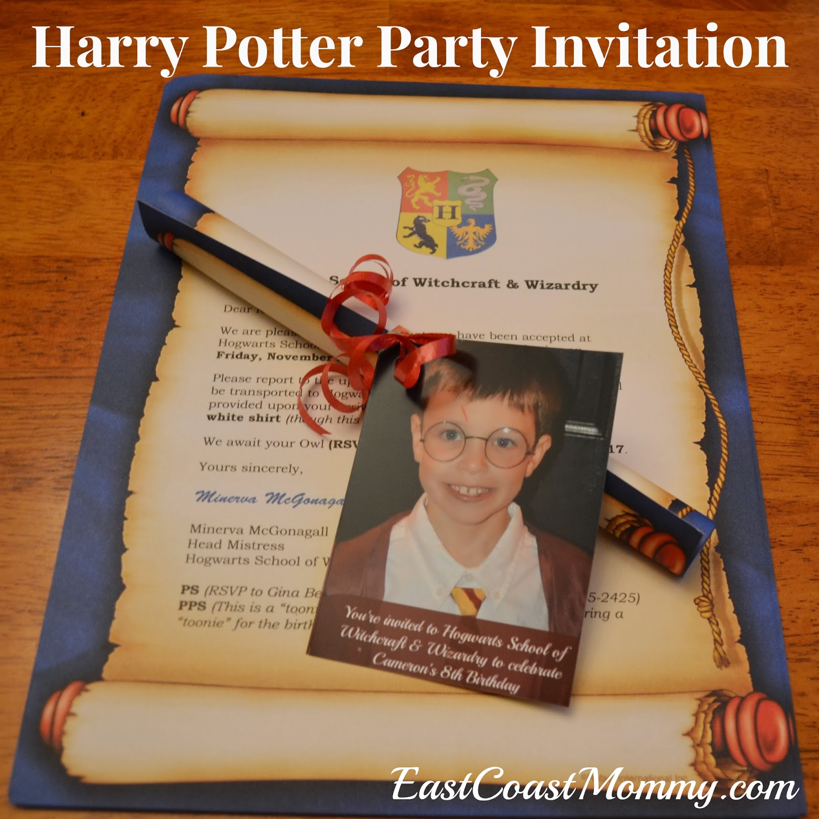 East coast mommy the ultimate diy harry potter party for Where can i buy party invitations