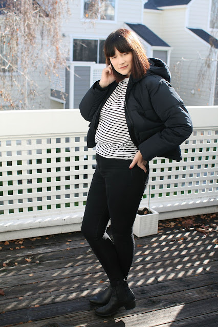 Everlane, short puffer jacket, black, Winter coat, Fashion, Style, Fashion blogger