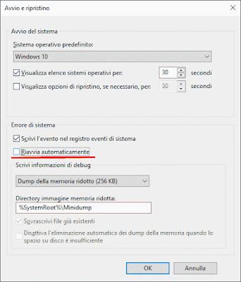 Impedire riavvio dopo Blocco di Sistema Windows 10