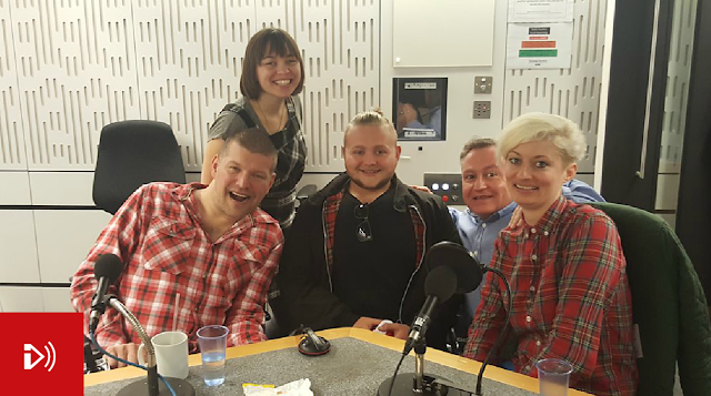 BBC Ouch show in the studio L-R Laurence Clark, Kate Monaghan-Cocker, Jack Binstead, Harriet Dyer