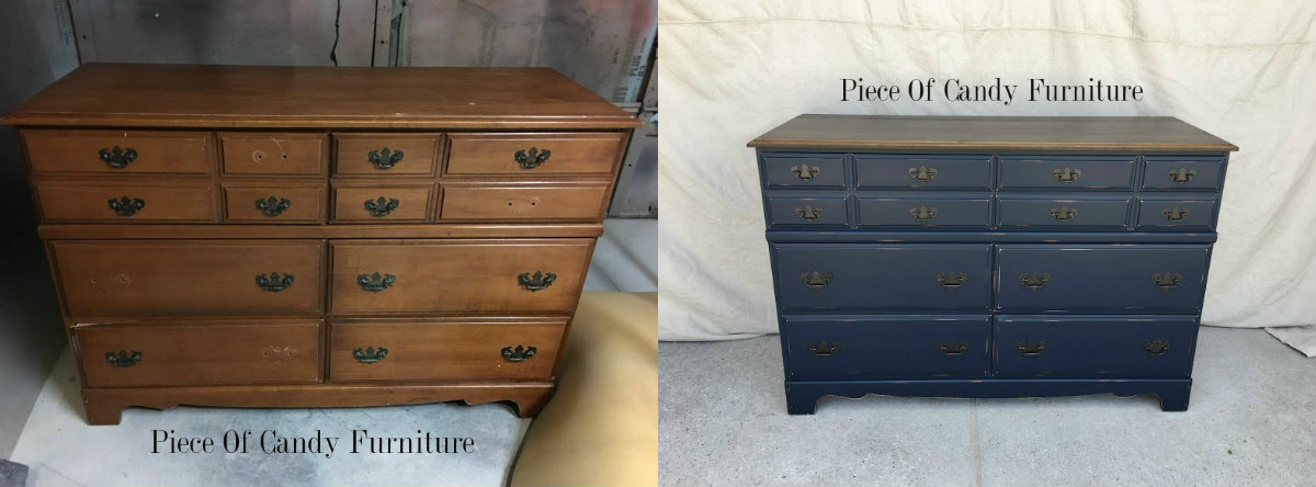 vintage chest of drawer navy blue drawers