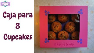 caja para 8 cupcakes, muffins o magdalenas