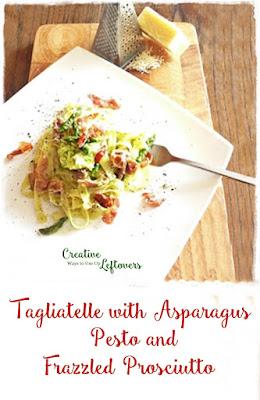 taglitatelle, asparagus, prosciutto
