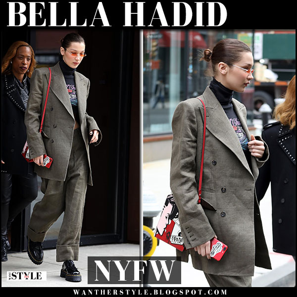Bella Hadid in grey tweed suit vivienne westwood and black patent oxfords dr. martens holly lolita new york fashion week style 2018