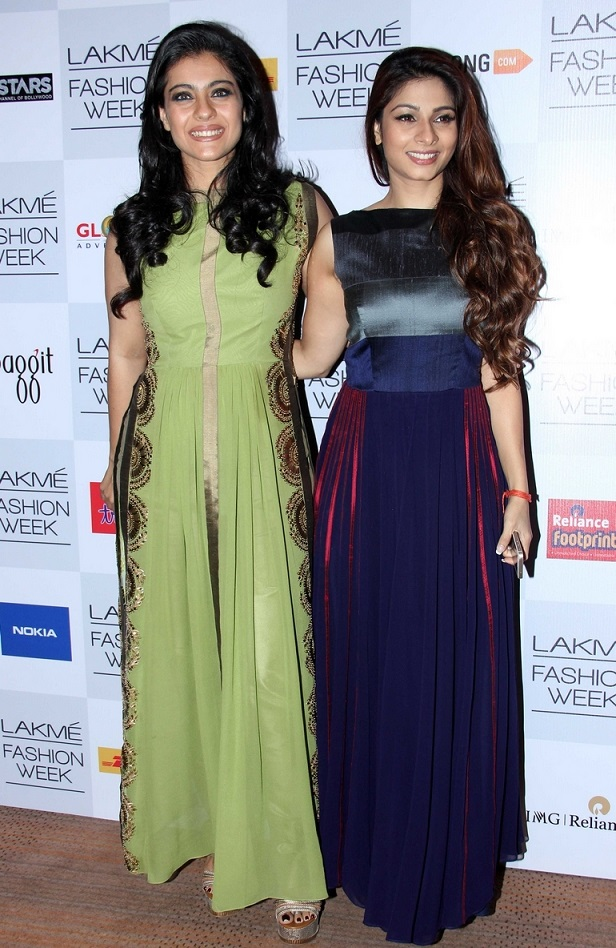Indian Glamours Girl Kajol Stills In Green Gown At Lakme Fashion Week Summer Resort