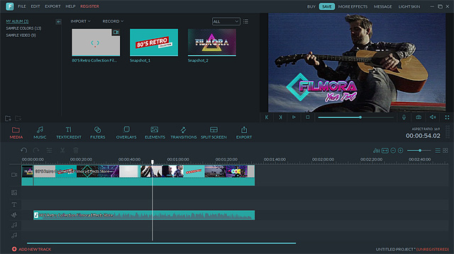 user interface of falmora the video editing software by wondershare.