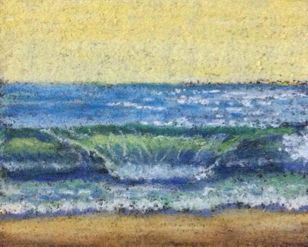 Thumbnail sketch of seashore from photograph by Manju Panchal