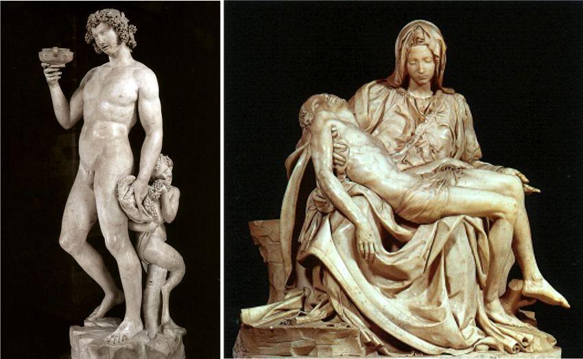 """Il """"Bacco"""" e la """"Pietà"""", Michelangelo"""