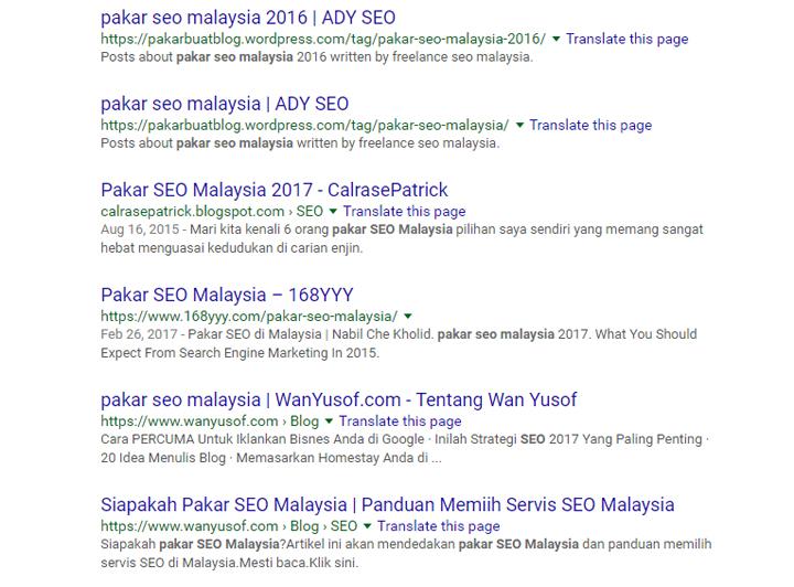 Result Pakar SEO Malaysia