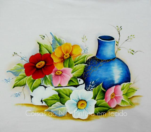 pintura em tecido moringa azul com flores do campo