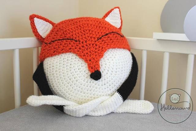 crochet pillow, fox, crochet fox, lis na szydełku, szydełkowy lisek, poduszka na szydełku,