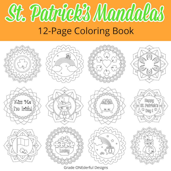 St. Patrick's Day Mandalas: A 12-Page Coloring Book for kids. Includes a free shamrock colouring page! #stpatricksday #stpatricksdaycoloringbook #coloringbookforkids #freecoloringsheet #gradeonederful