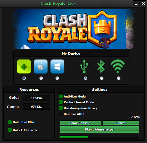 clash royale hack tools