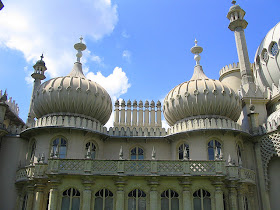 The miniature onion-shaped domes and tall chimney stacks  on the eastern front of the Brighton Pavilion