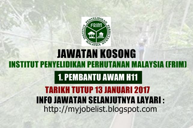 Jawatan Kosong Institut Penyelidikan Perhutanan Malaysia (FRIM) Januari 2017