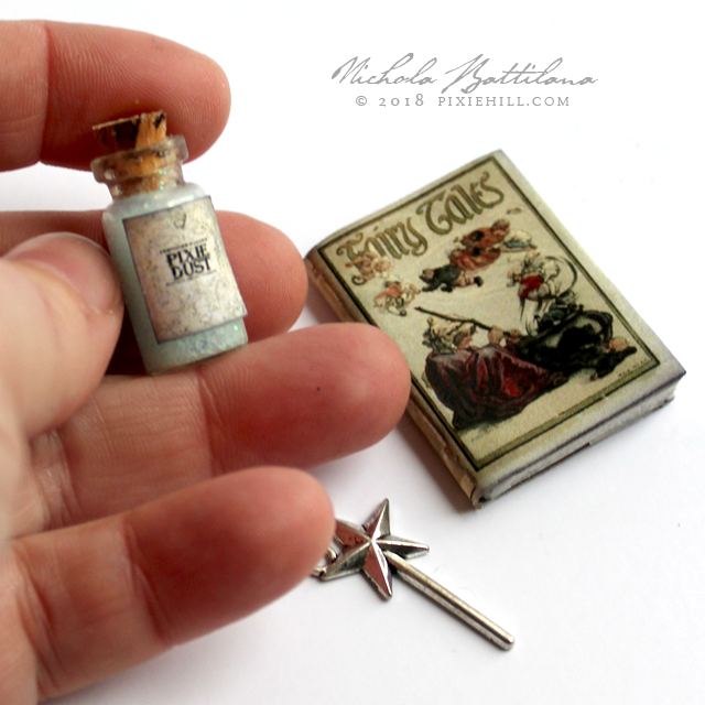 Miniature book of Fairy Tales, vial of Pixie Dust and wand charm - Nichola Battilana pixiehill.com
