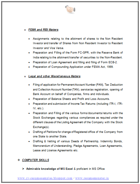 company secretary resume formats blog co excellent sample in word