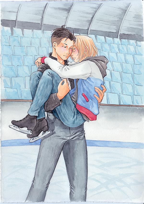 Tombé du ciel - Otayuri, fanart de Yuri on ice - aquarelle