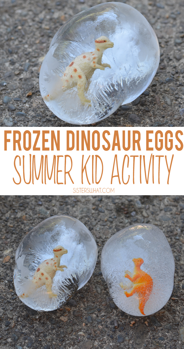 DIY Frozen dinosaur eggs science and sensory preschool activity