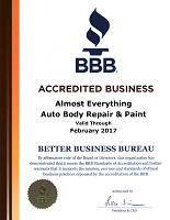 2016 BBB Better Business Bureau Accreditation for Almost Everything Autobody