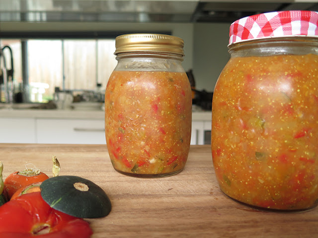 Zucchini Relish made with vegetable scraps