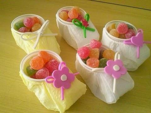 Lembrancinhas de chá de bebê  com copos descartáveis-  Passo a Passo em vídeo