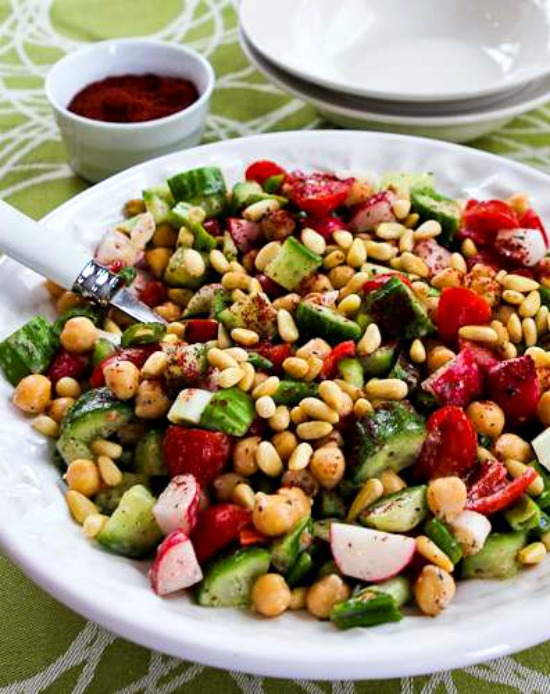 Fattoush-Inspired Chopped Salad with Tahini-Buttermilk Dressing, Sumac, and Pine Nuts found on KalynsKitchen.com