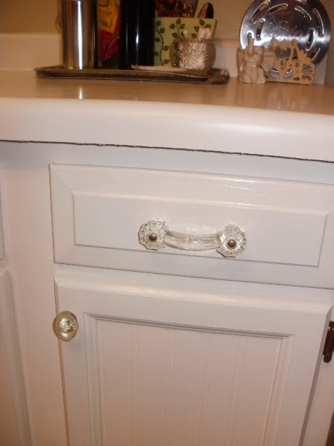 Close-up of new cabinet handles