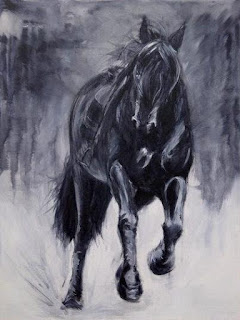 running galloping horse equestrian art