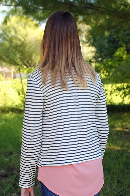 Grainline Studio Morris Blazer in a stripe ponte from Mood Fabrics for my daughter - back view