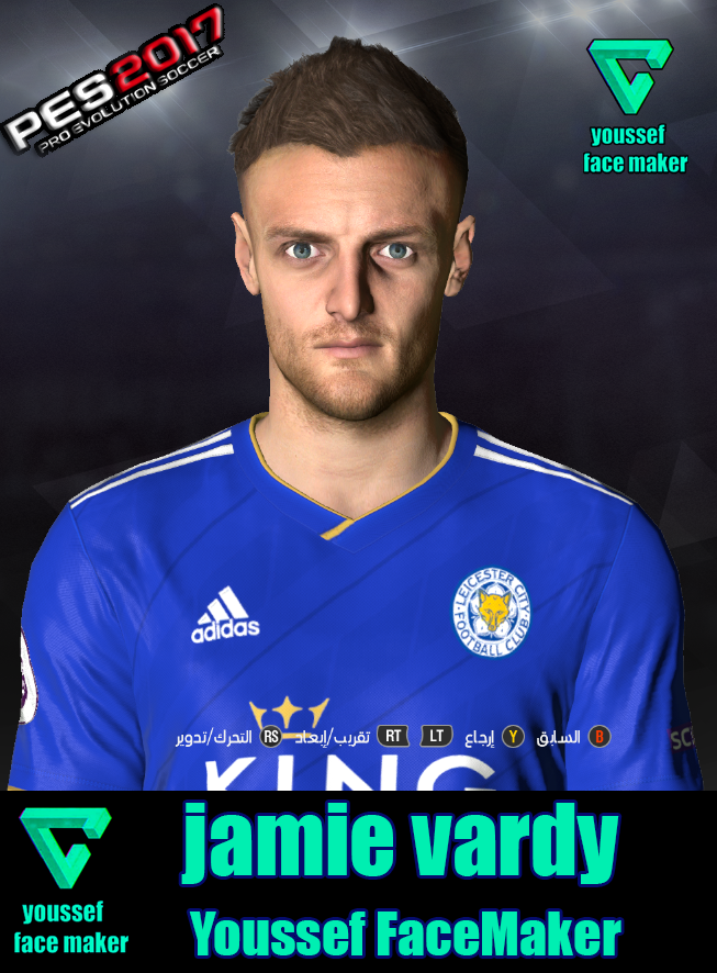 PES 2017 Jamie Vardy face by Youssef Facemaker