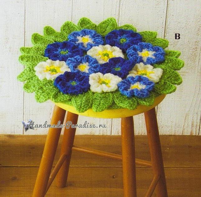 Сидушки для стула, с подсолнухами, маками и герберами (4)